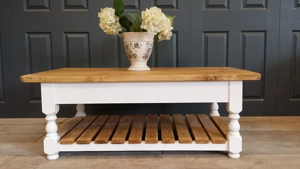 shabby chic coffee table with magazine rack – country life furniture