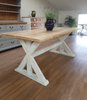 Distressed Trestle Table - Made from reclaimed wood - Any colour or size