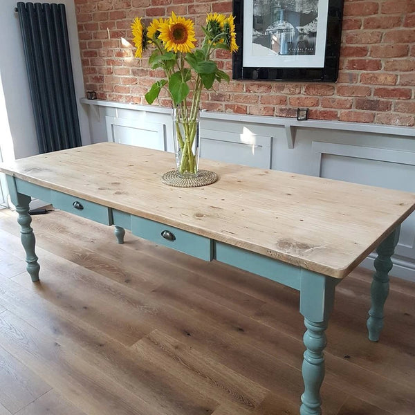 Rustic farmhouse table  - Made From Reclaimed Wood (Distressed Wooden Top) - Country Life Furniture - Quality Interiors