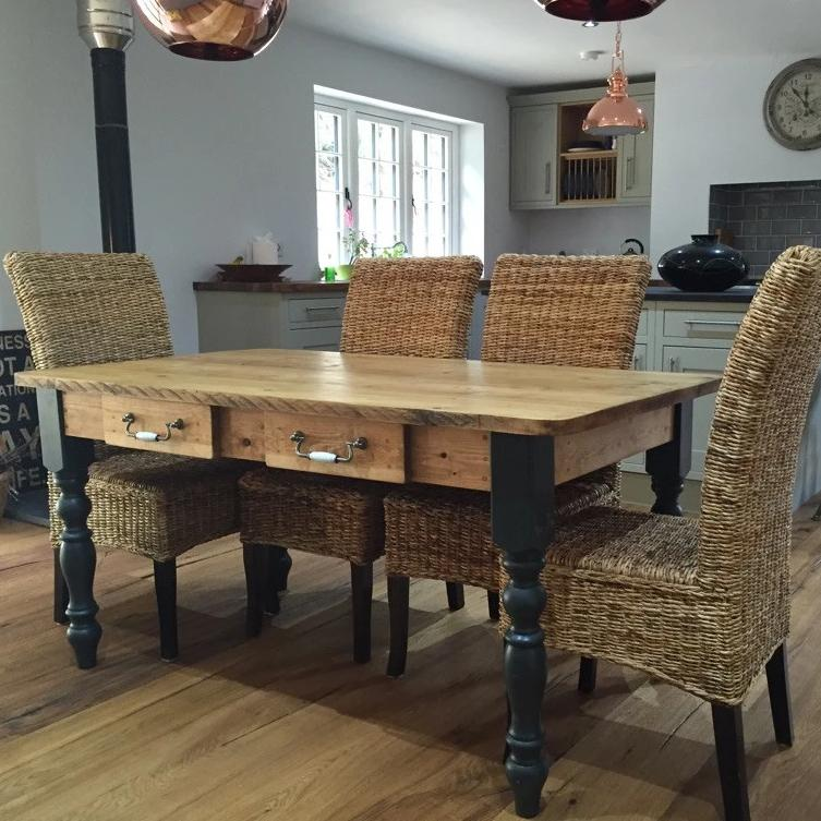 The 'Burford Black' (Table only) Rustic Farmhouse Table Made From Reclaimed Wood With Black Legs - Country Life Furniture - Quality Interiors