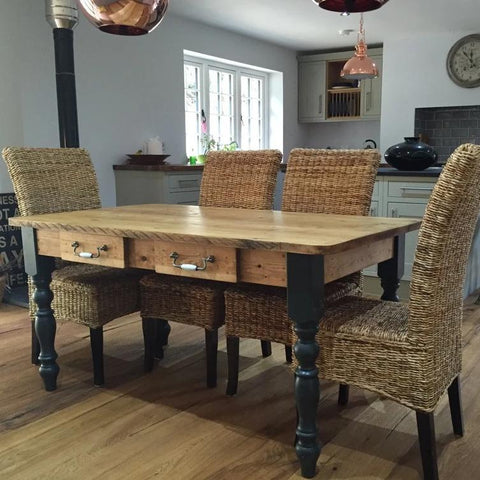 The U0027Burford Blacku0027 (Table Only) Rustic Farmhouse Table Made From Reclaimed  Wood ...