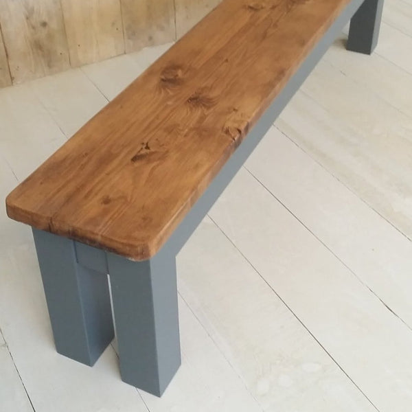 Rustic benches with chunky square legs