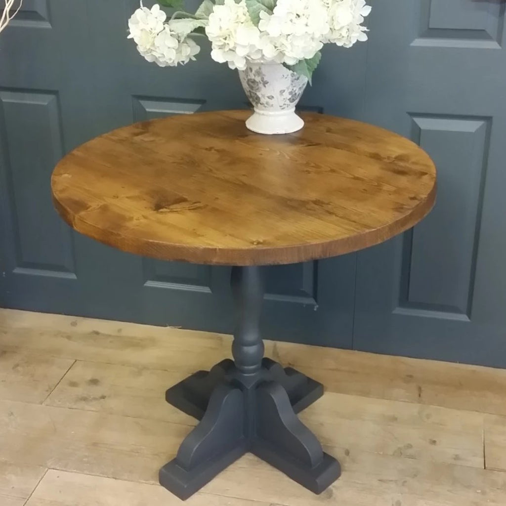 Round Shabby chic reclaimed pub table