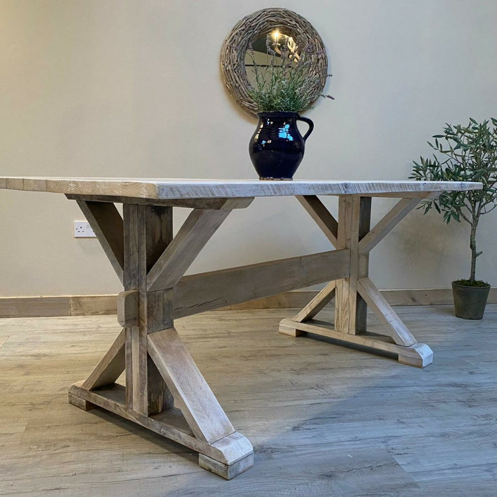 Limewaxed Distressed Trestle Table - Made from reclaimed wood - Any colour or size