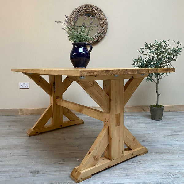 Waxed All Over Trestle Table Indoor/Outdoor - Made from reclaimed wood - Any colour or size