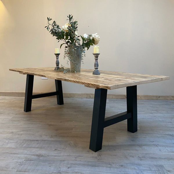 The 'Industrial' Distressed Farmhouse Dining Table - made from reclaimed wood