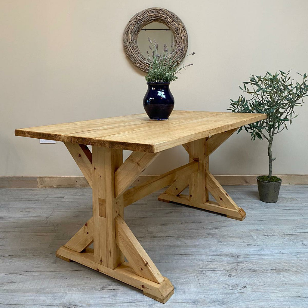 Waxed All Over Trestle Table - Made from reclaimed wood - Any colour or size