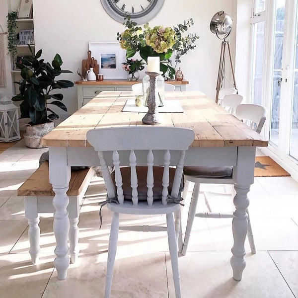reclaimed farmhouse table and chairs in Cornforth white