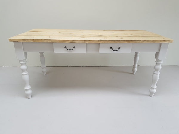 The ' Wimborne' Table Set - Made From Reclaimed Wood (Distressed Wooden Top) - Country Life Furniture - Quality Interiors