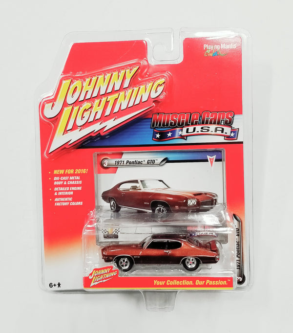 Johnny Lightning 1971 PONTIAC GTO (BRN Metallic) Die Cast Car 2016 Series Release 1