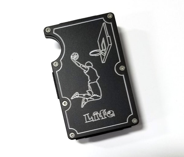 Mens Credit Card Wallet Slim, Metal Aluminum RFID Blocking Basketball RFD043