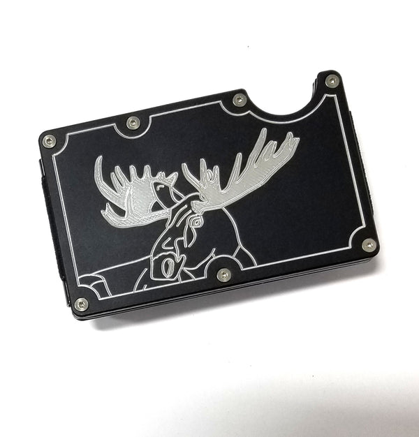 Mens Credit Card Wallet Slim, Metal Aluminum RFID Blocking, Bull Moose RFD048