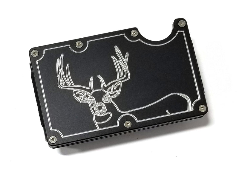 Mens Credit Card Wallet Slim, Metal Aluminum RFID Blocking, Whitetail Buck RFD055