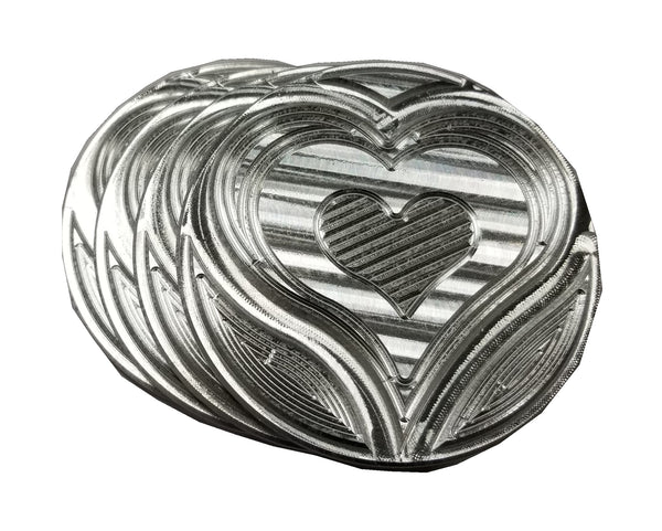 "Drink Coaster 4"" Round Aluminum Custom Heart Shape Design, Set of 4, Made in USA DC003"