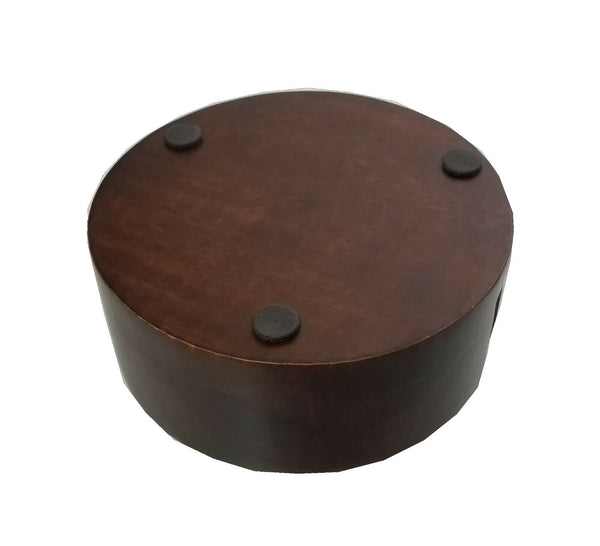 "Coaster Holder, Round, Wood, 4"" Round Style, Dark Walnut Finish"