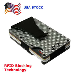Mens Credit Card Wallet Slim, Metal Aluminum RFID, Detachable Money Clip RFD045