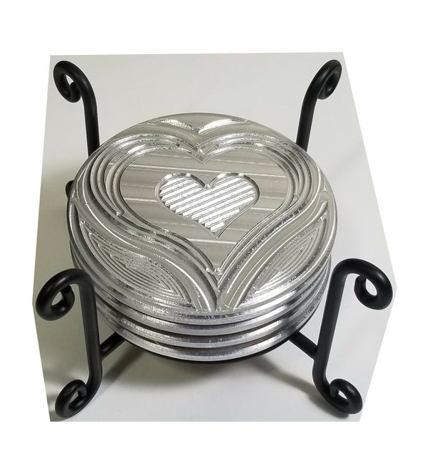 "Wire Coaster Holder, Black, 4 Post Heavy Wire Scroll for 4"" Round Coasters"