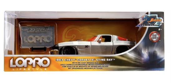 Jada Toys 20th Anniversary LOPRO 1963 Chevy Corvette Sting Ray Die-Cast Tile 1:24