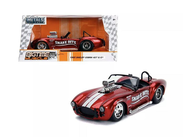 "Jada Bigtime Muscle 1965 Shelby Cobra 427 S/C Candy Red w/ White Stripes ""Snake Bite"" 1:24"