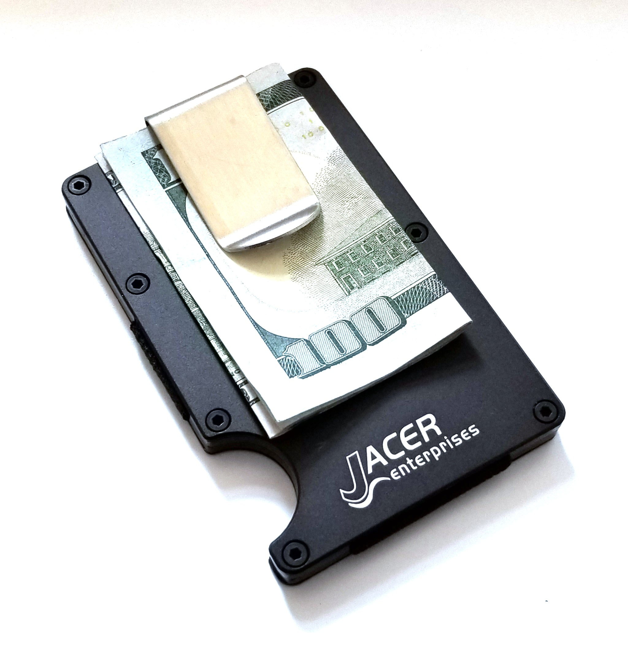 Mens Aluminum Credit Card Holder RFID Protection Black Anodized Wallet