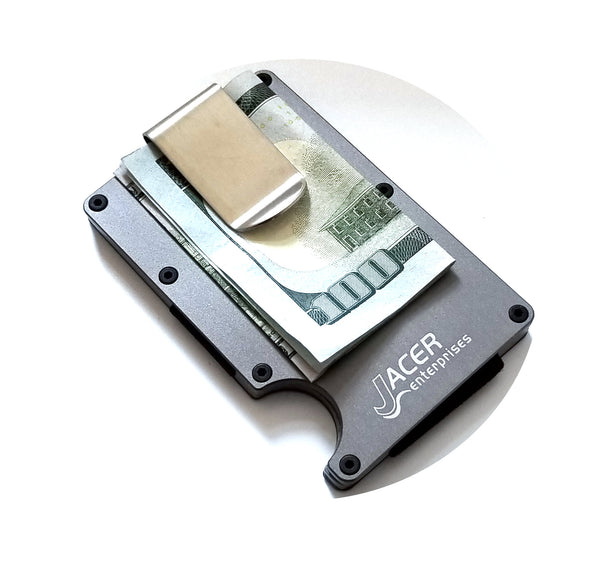 Mens Credit Card Wallet Slim Metal RFID Blocking - Detachable Money Clip RFD004