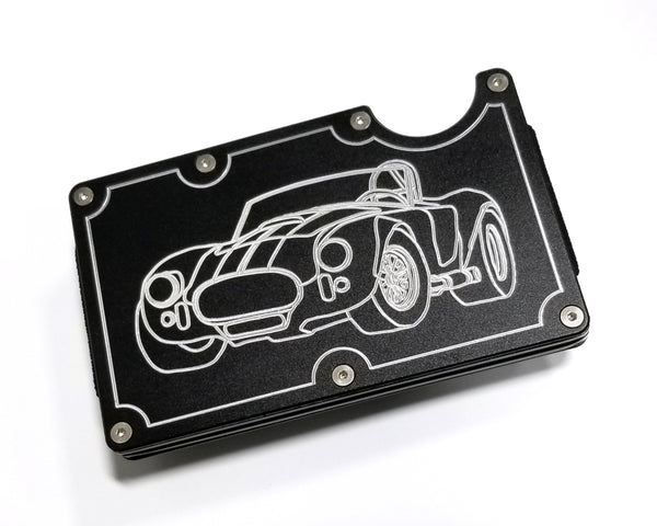 Mens Credit Card Wallet Slim, Metal Aluminum RFID Blocking, Shelby Cobra RFD005
