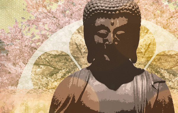 amida buddha symbols of zen - canvas art print detail