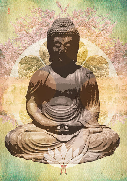 amida buddha symbols of zen - canvas art print