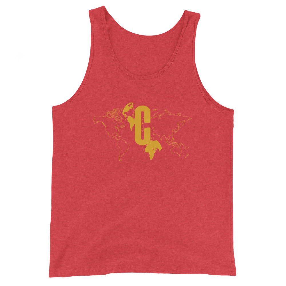 Men's Logomark Map Yellow Slim Fit Tank Top