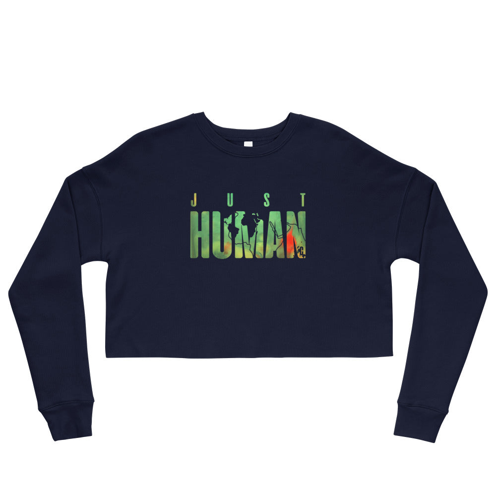 Women's JUST HUMAN Green Fire Cropped Sweatshirt