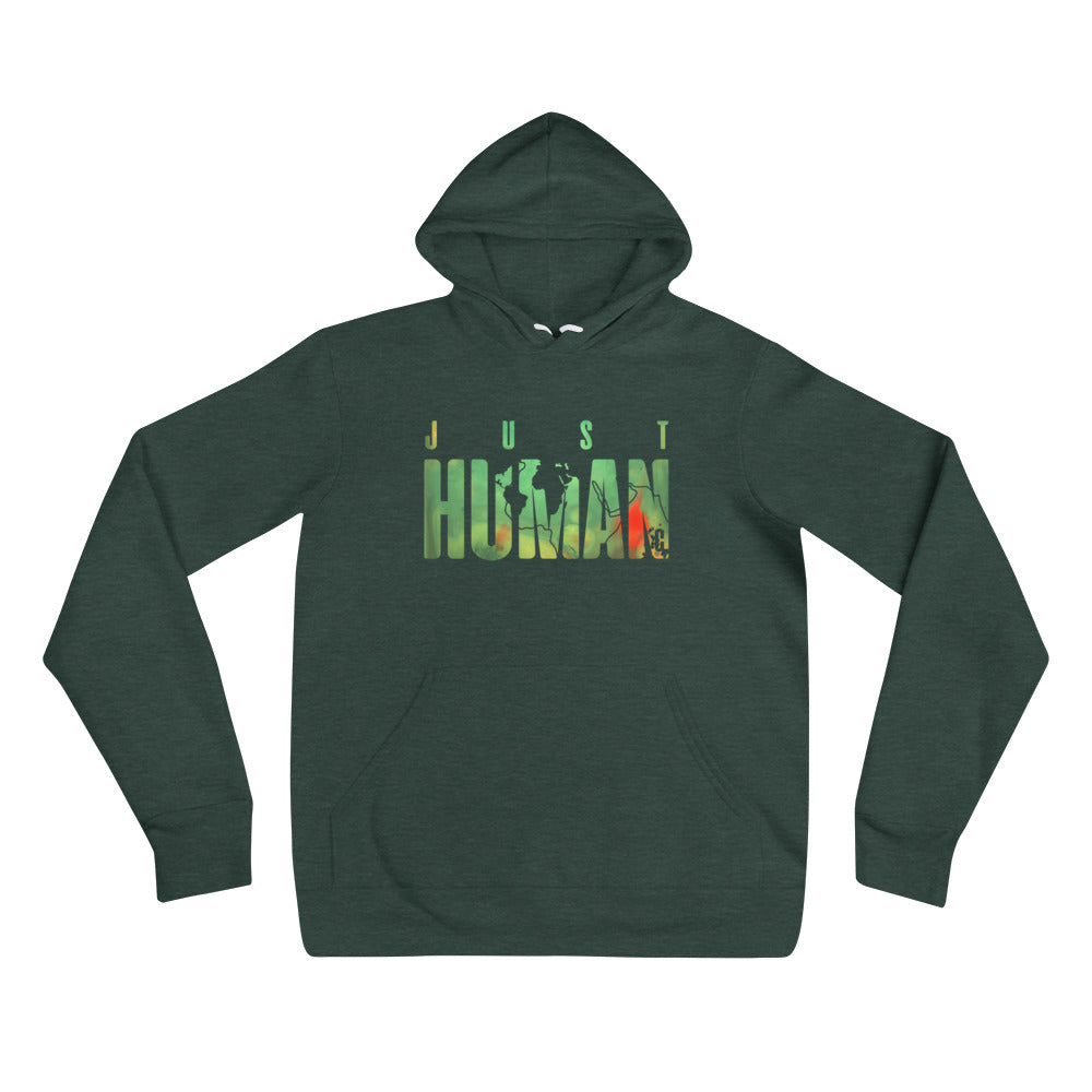 Women's JUST HUMAN Green Fire Pullover Hoodie
