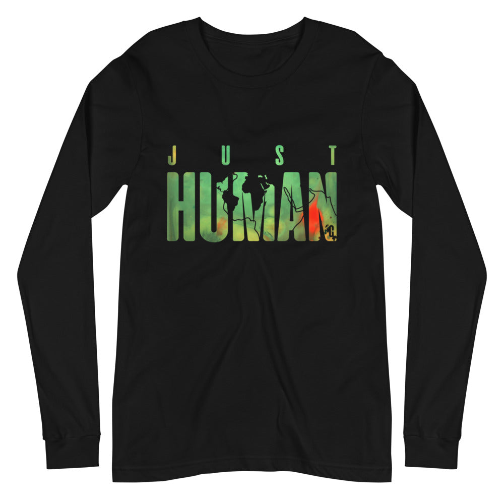 Women's JUST HUMAN Green Fire Long Sleeve Crew Neck