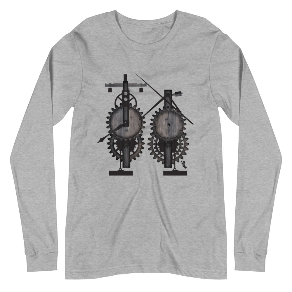 Women's Mechanical Clock Long Sleeve Crew Neck