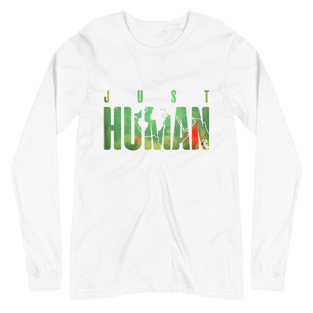 Men's JUST HUMAN Green Fire Long Sleeve Crew Neck