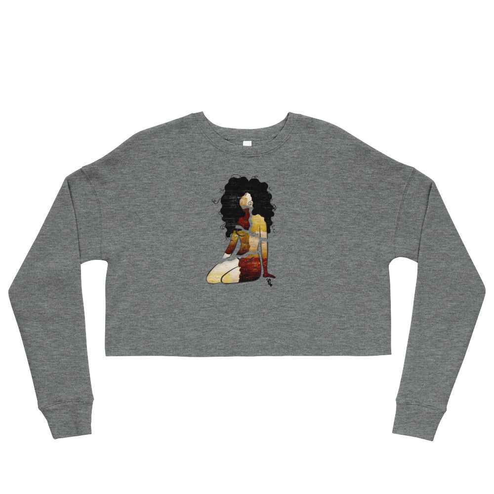 Women's Melanin Painted Curls Cropped Sweatshirt