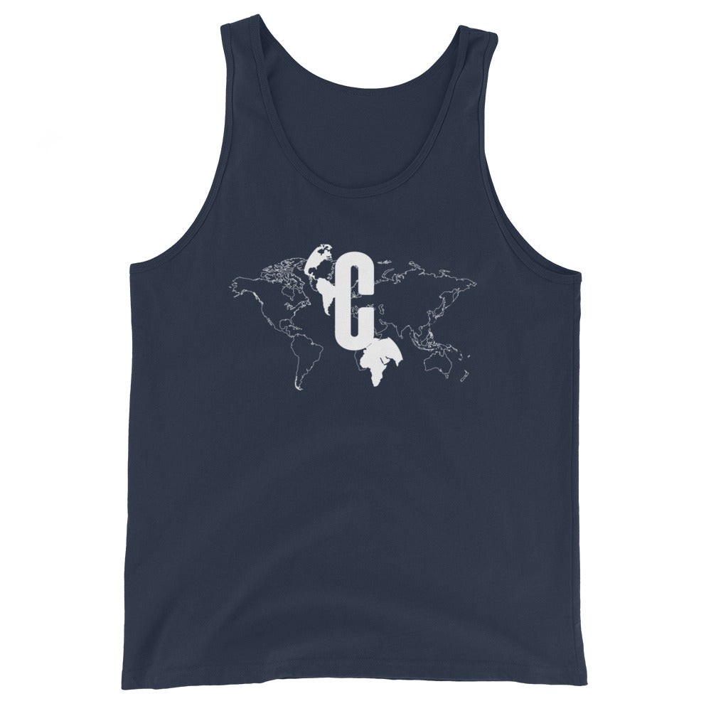 Men's Logomark Map White Slim Fit Tank Top
