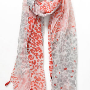 Watercolour painted leopard print scarf with Tassel Coral - LAST 2- - Villancher Gifts &  Fashion Accessories