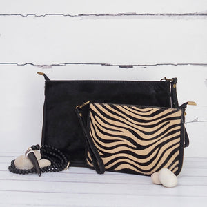 Large Clutch Pony Hair Black