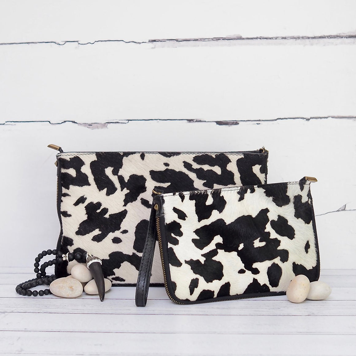Large Cow Print Clutch Bag - Villancher Gifts &  Fashion Accessories