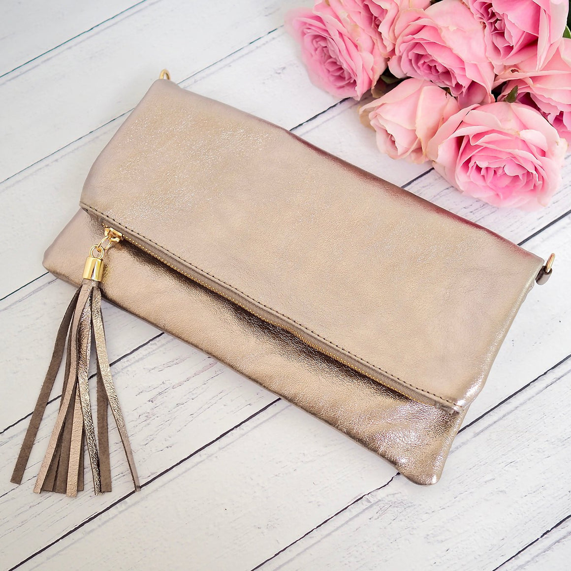 Anna Tassel Clutch Bag Bronze