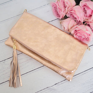 Anna Tassel Clutch Bag Rose Gold