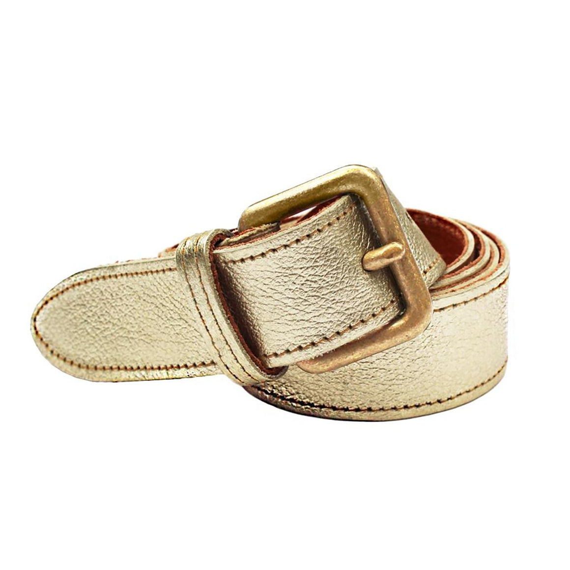 Metallic Cowhide Belt Gold - Villancher Gifts &  Fashion Accessories