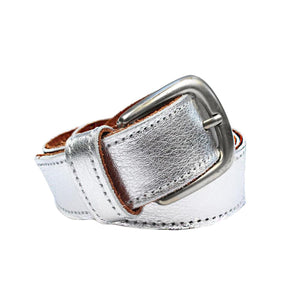 Metallic Cowhide Belt Silver