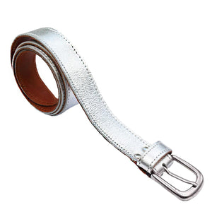 Metallic Cowhide Belt Silver - Villancher Gifts &  Fashion Accessories
