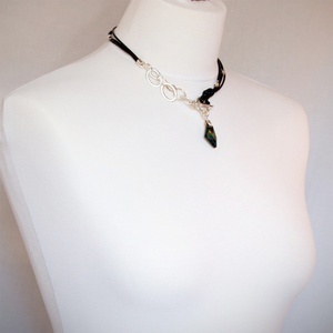 Black Leather Necklace with Black Swarowski Element Crystal Nugget - Villancher Gifts &  Fashion Accessories