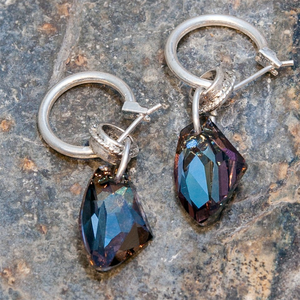 Blue Shadow Swarowski Element Crystal on Silver Plated Hoop Earrings -  WAS £35 - Villancher Gifts &  Fashion Accessories