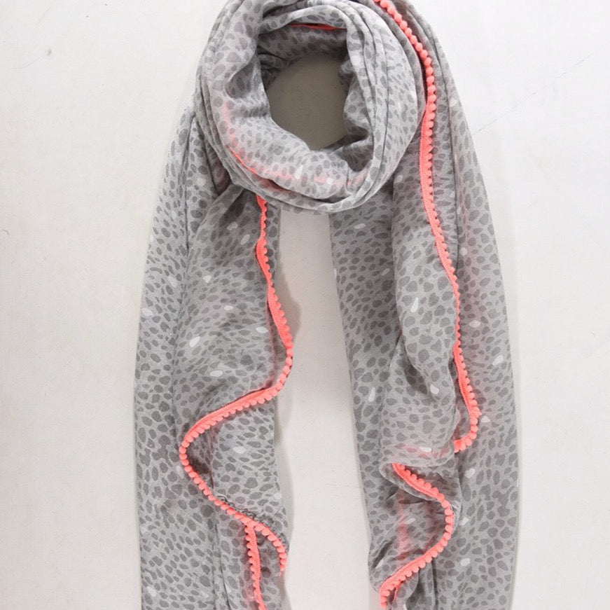 Grey light weight Scarf with neon trim - Villancher Gifts &  Fashion Accessories