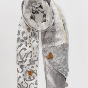 Grey light weight leopard print Scarf with tassels - Villancher Gifts &  Fashion Accessories