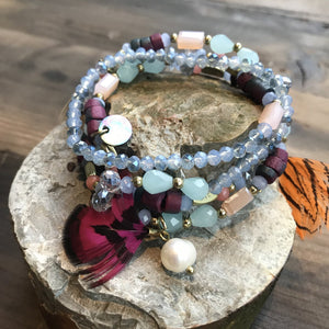 Moon˚C Elba Multirow blue Bracelet