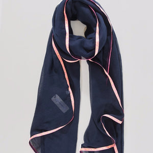Navy light weight Scarf with neon trim - Villancher Gifts &  Fashion Accessories